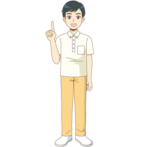 説明する男性介護職(介護士・ヘルパー/介護現場の人物)のイラスト