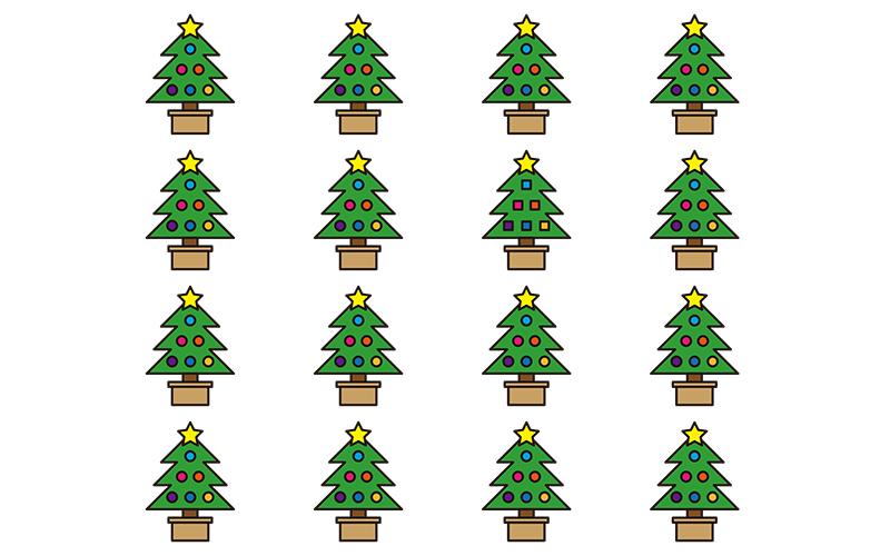 間違い探し「クリスマスツリー」 - No.00014(高齢者向け間違い探しの介護レク素材)